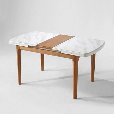 【obis】現代風大理石紋可伸縮長餐桌 LS058 -淺木色 (7.3折)
