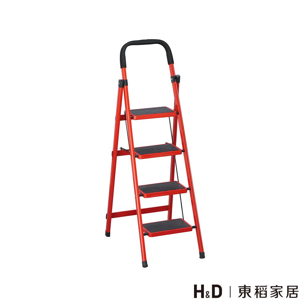 烤漆四層步梯-紅+黑