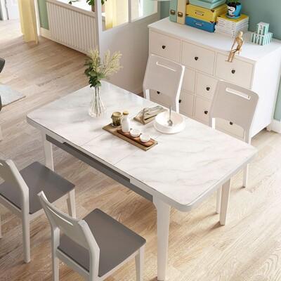 【obis】現代風大理石紋可伸縮長餐桌 LS058+餐椅(一桌四椅) -灰白色 (7.1折)