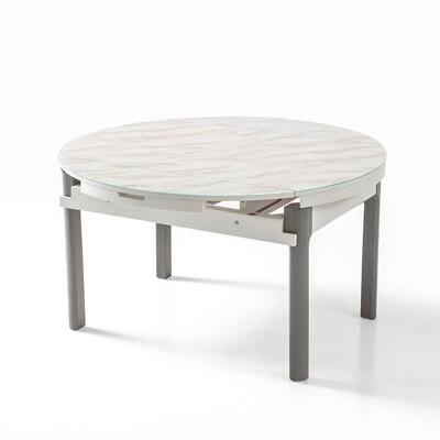 【obis】現代風大理石紋可伸縮圓餐桌 LS058 -灰白色 (7.3折)