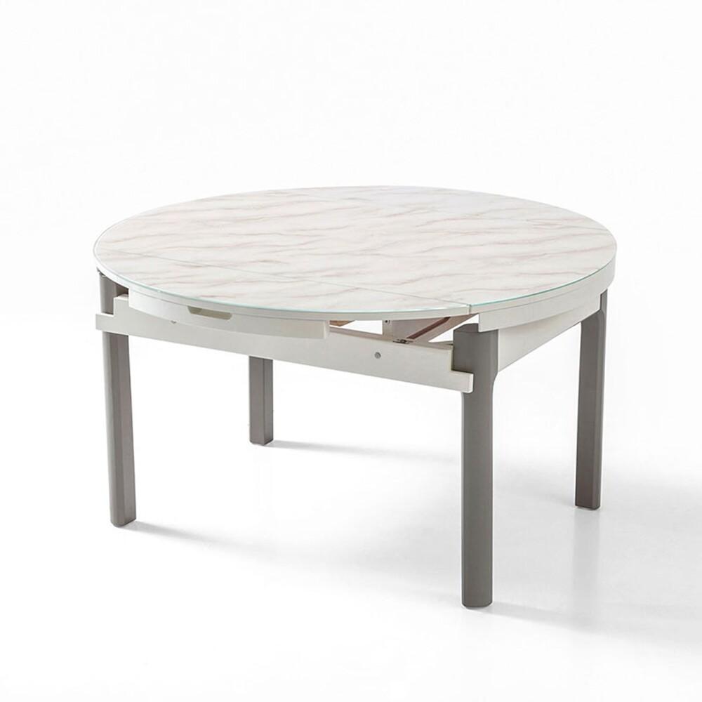 obis現代風大理石紋可伸縮圓餐桌 ls058 -灰白色