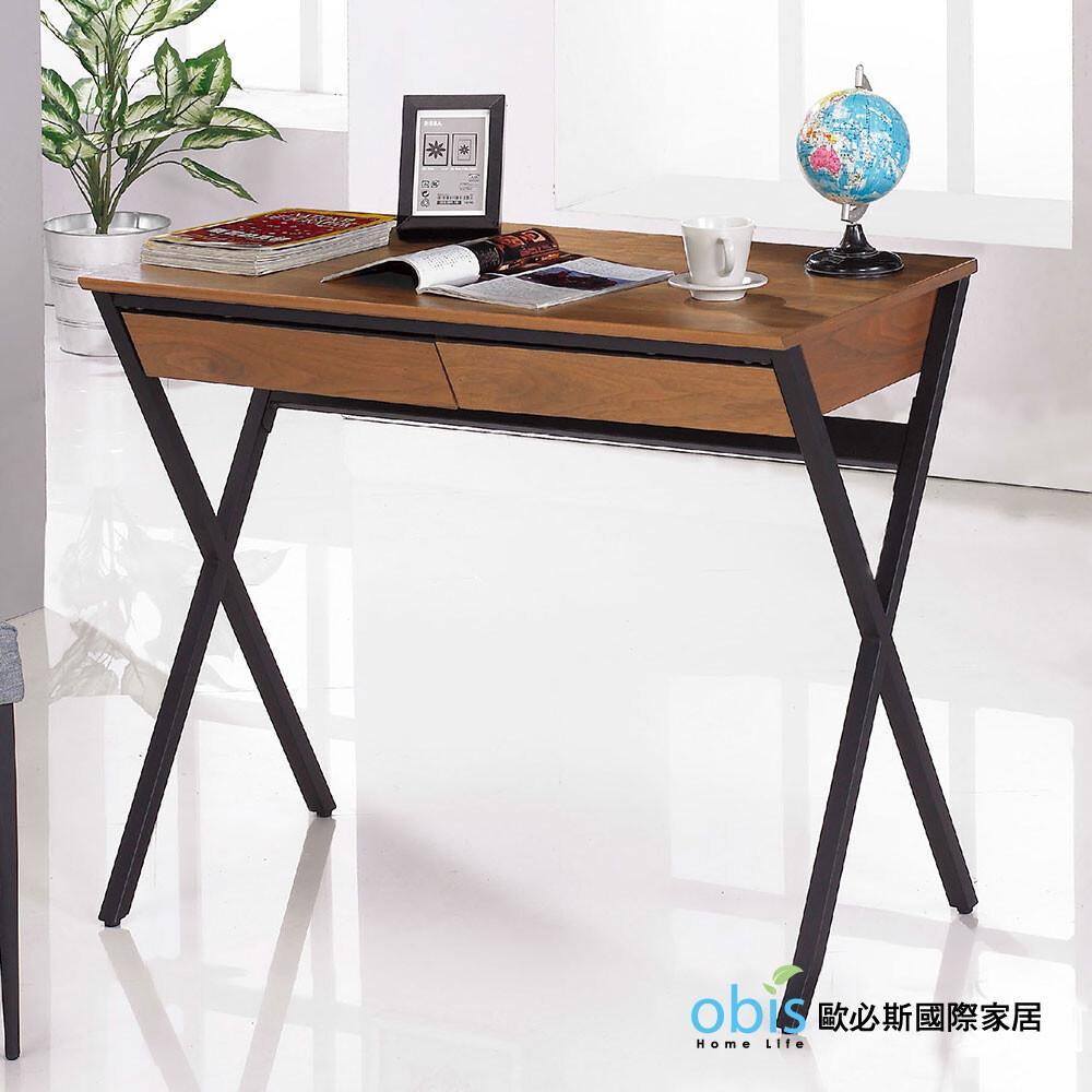 歐菲3尺胡桃色二抽書桌(18jf/383-3)