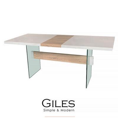 【obis】Giles 強化玻璃伸縮餐桌/工作桌(白色鋼琴烤漆) (4.4折)