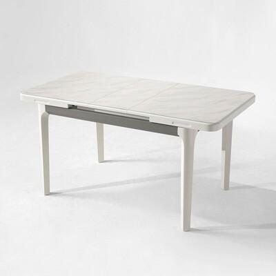 【obis】現代風大理石紋可伸縮長餐桌 LS058 -灰白色 (7.4折)