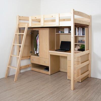 【原森道傢俱職人】簡約日式高腳床三件套組(高架床、書桌、衣櫥) 宿舍 兒童 收納 台灣製 (5折)