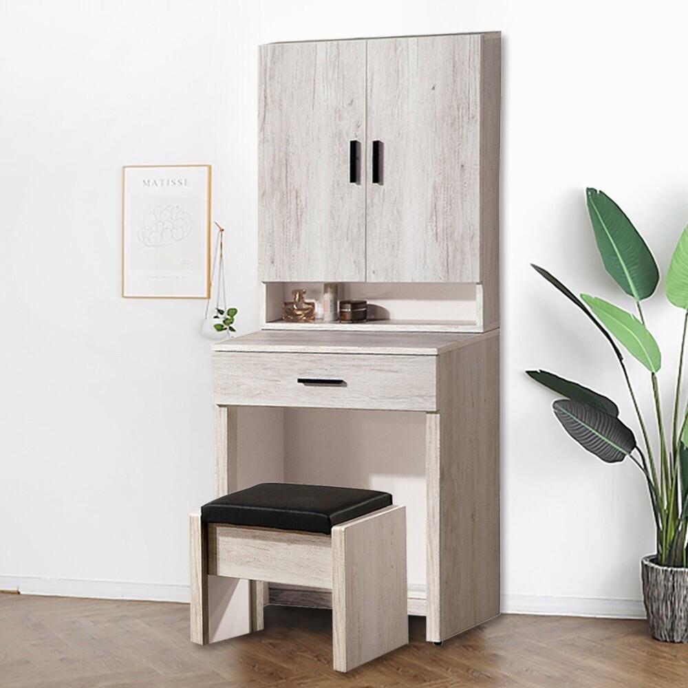 原森道傢俱職人復古古橡木2尺化妝桌椅組(led照明燈) 含組裝 梳妝台 化妝台