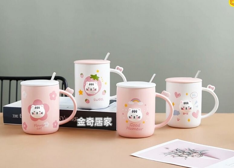 陶瓷杯 立體貓咪 400ml 附杯蓋.拌勺