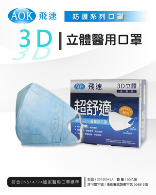 【AOK】3D新型醫用專利-可調式完全包覆立體口罩(50片/盒)-天空藍-大人(L) (8折)