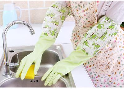 束口貓頭鷹加絨保暖橡膠洗碗手套 家事手套   JA3021 【隨機出貨不挑色】 (2.6折)