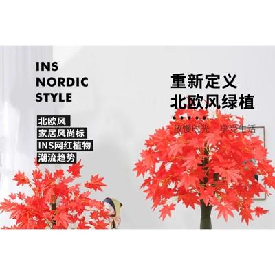 仿真植物盆栽鴻運當頭室內裝飾假花防真花客廳擺件大紅楓樹假盆景 (5.4折)