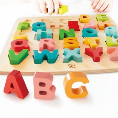 現貨免等德國Hape愛傑卡木製玩具-立體英文字母大小寫木拼圖 (7.8折)