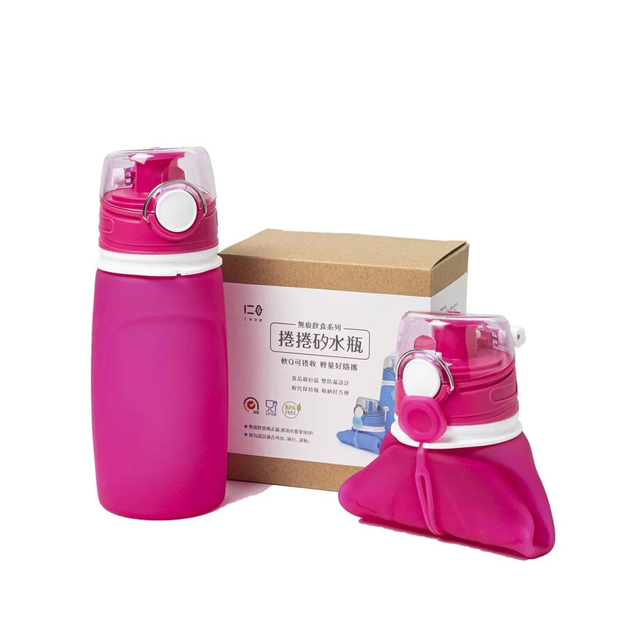 仁舟淨塑水壺 / 隨行杯 / 環保水瓶 捲捲矽水瓶-桃喜紅 550ml