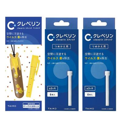 日本 Cleverin 加護靈 小熊維尼筆型 + 筆型補充包(6支/盒)X2 (9.1折)