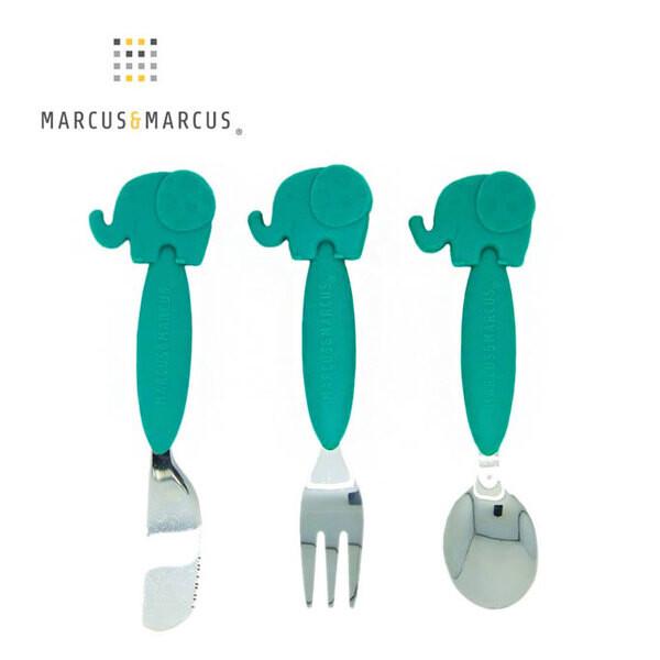 marcus & marcus 動物樂園 不鏽鋼刀叉匙三件組-大象(綠)