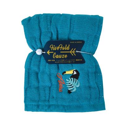 【NICOTT】日本五重珍珠紗方巾〈土耳其藍巨嘴鳥〉 (10折)