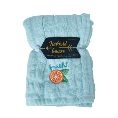 【NICOTT】日本五重珍珠紗方巾〈水藍柳橙〉 (10折)