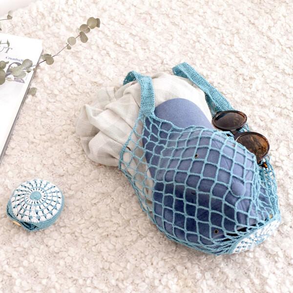 仁舟淨塑貝殼棉網包 (湖水綠) 編織袋 購物袋 環保袋 手提袋