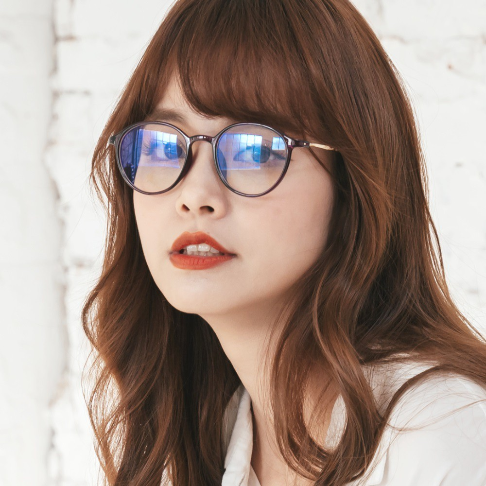 韓星時尚網紅復古桔梗紫tr90輕量圓框金屬鏡腳uv400濾藍光眼鏡alegant