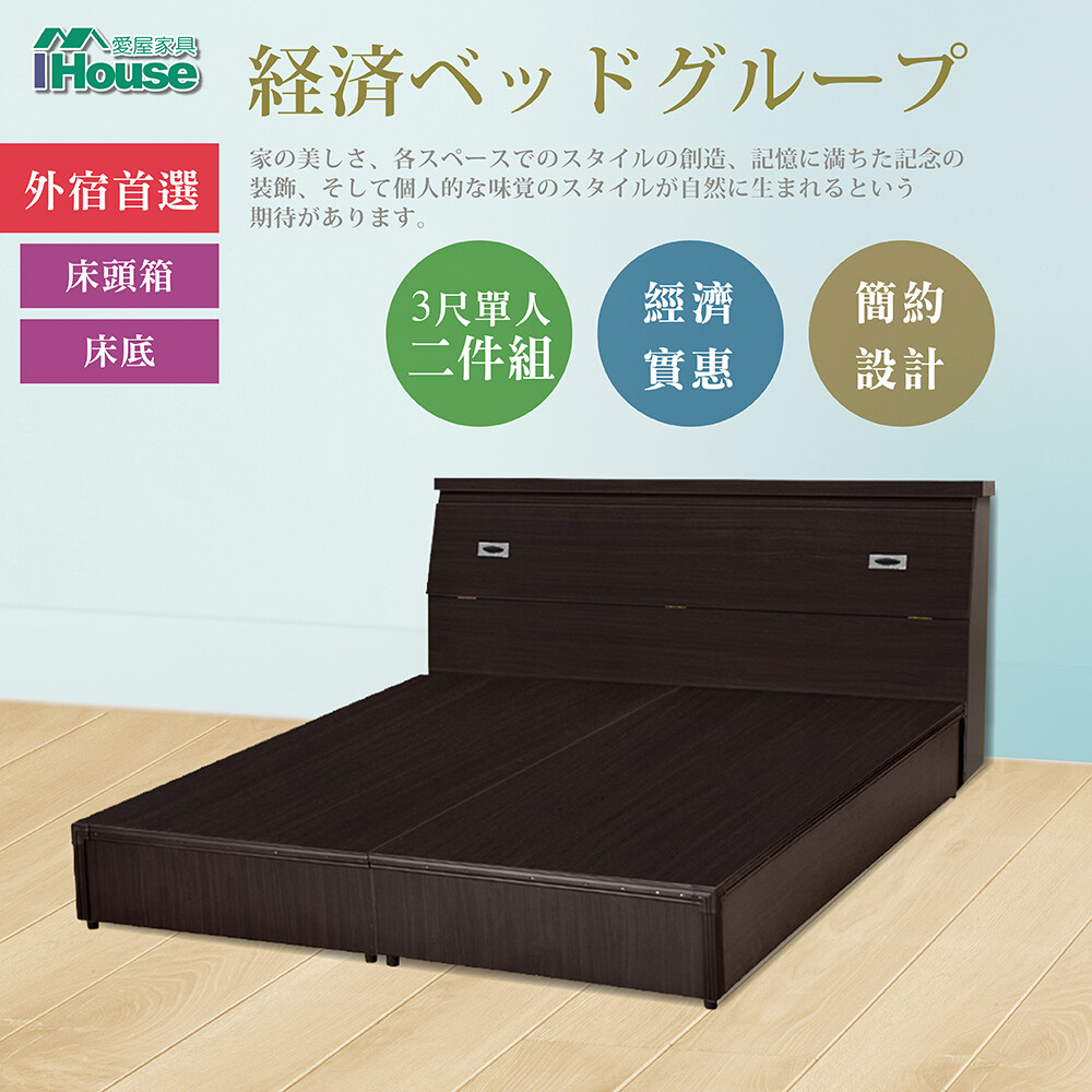 ihouse-經濟型房間組二件(床頭箱+床底)-雙人5尺