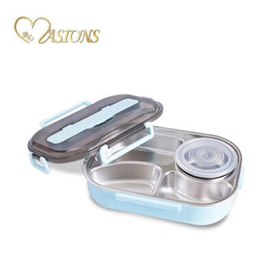 【MASIONS 美心】 頂級304不鏽鋼多功能分隔保溫便當盒上蓋附餐具 湯碗(一入) (4.4折)
