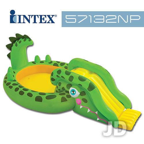 intex冒險樂園充氣式游泳池溜滑梯 57132np