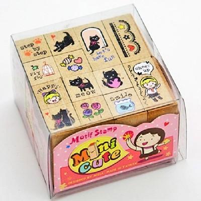 菲茵卡樂手做DIY文創系列小可愛印章組-小黑貓(可愛 文創 好玩 優雅 diy 卡片製作)MCS06 (6.7折)