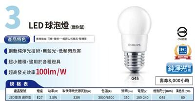 philips led 迷你型球泡燈 e27 3.5w 100-240v 黃光 白光 (8.4折)