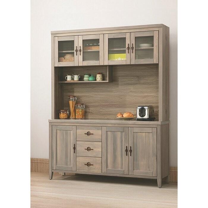 新精品af-825-1 泰豐5.3尺半實木餐櫃(上+下)古橡色 (不含其他商品) 台北到高雄滿