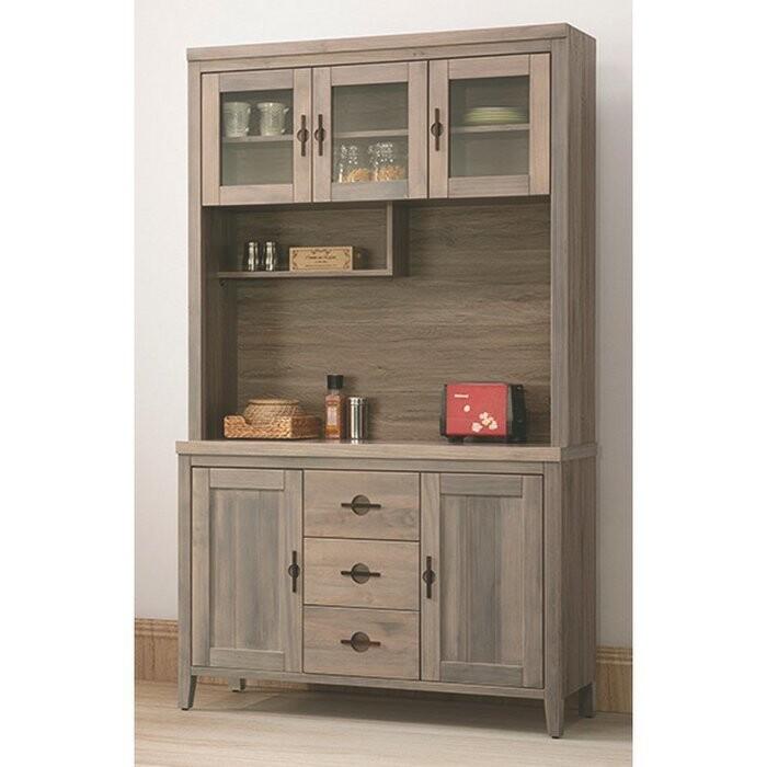 新精品af-825-3 泰豐4尺半實木餐櫃(上+下)古橡色 (不含其他商品) 台北到高雄滿三千