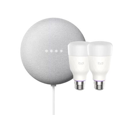 Google Nest Mini 粉炭白【智慧家庭組合】內含兩顆智慧燈泡,讓Google幫你關燈! (8.2折)