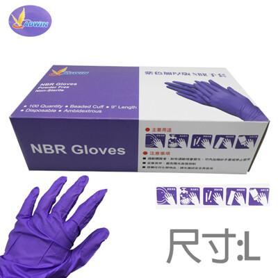 食品級NBR抗油紫色加厚乳膠檢驗手套(1盒100個1入) (5.3折)