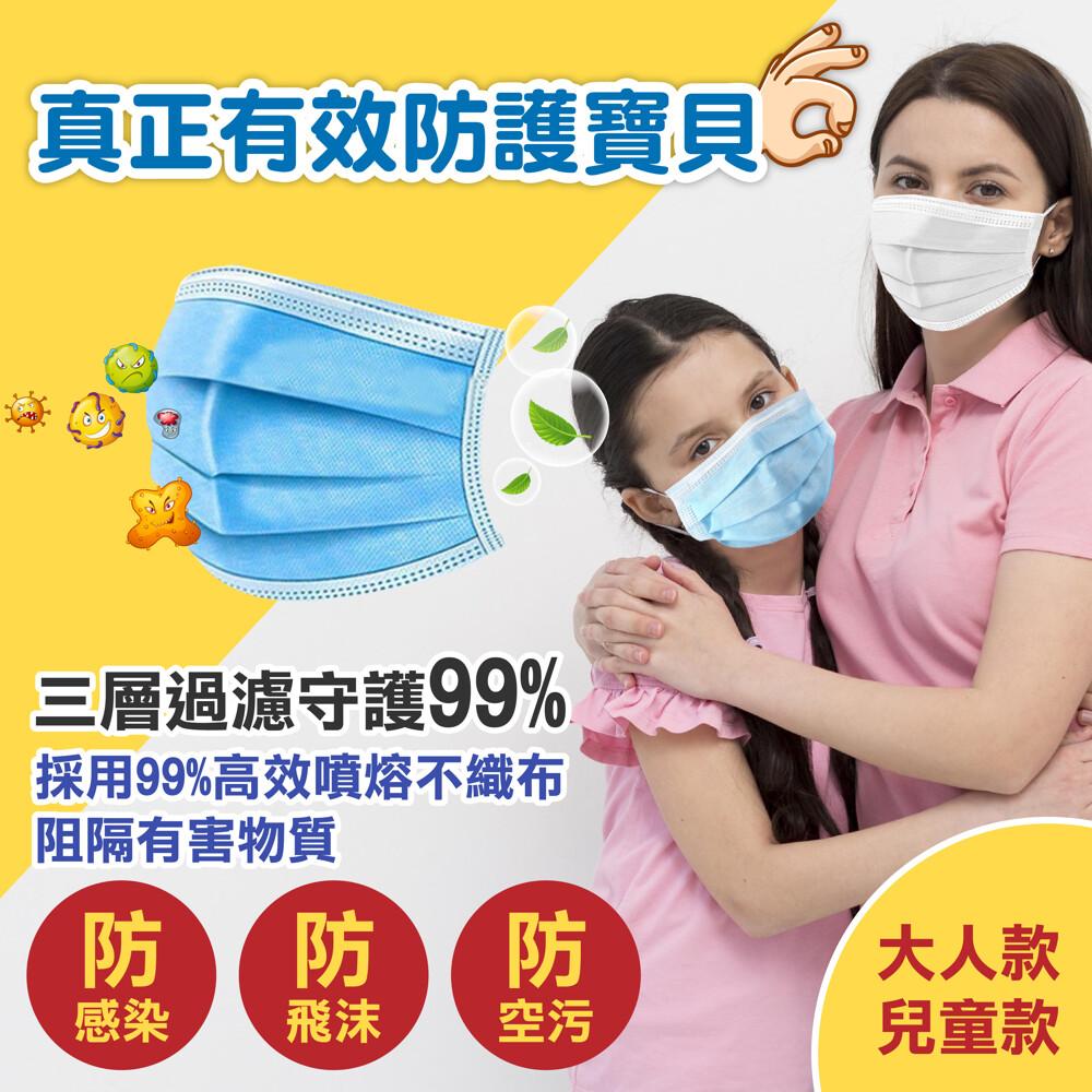 大人款多彩拋棄式三層防護口罩 兒童款 大人款 厚口罩 靜電熔噴布 3層口罩 防水防飛沫