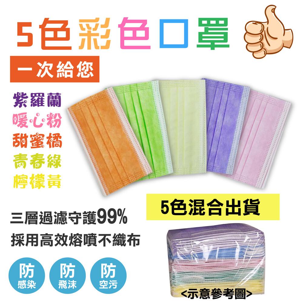 (ce認證口罩)拋棄式三層熔噴布防護5色彩色口罩 熔噴布含量90%以上(中國製請注意看清楚)