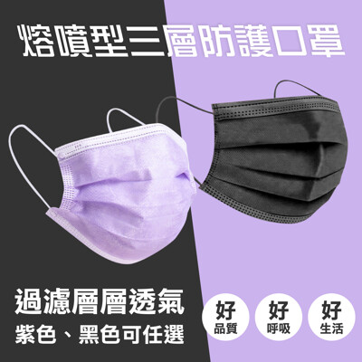 三層熔噴布黑紫高品質一次性防護口罩(紫色)(中國生產-台灣廠監製)品質把關 (0折)