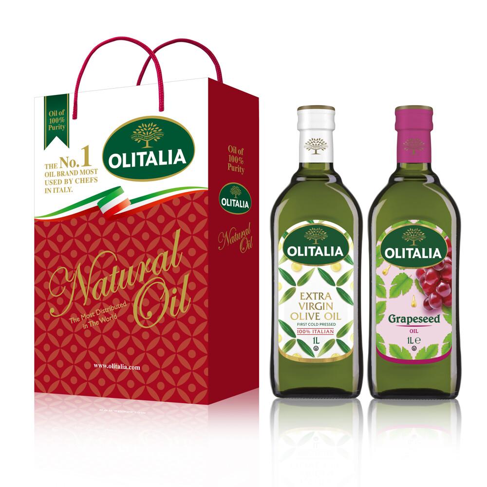 奧利塔特級初榨橄欖油 1000ml+奧利塔葡萄子油 1000ml