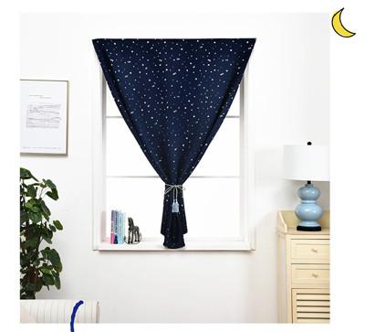 小款 簡易星星遮光窗簾 魔鬼氈窗簾 黏貼窗簾布 門簾 不透光(100X100cm)