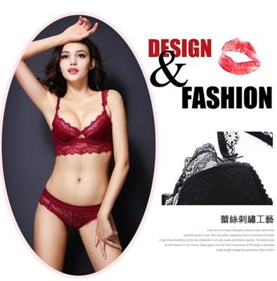 Rose-Bra法式性感誘惑大尺碼透明蕾絲成套內衣 (3.8折)